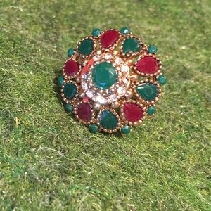 Jewelry - Red and Green Indian Ring- Royal Style size 7-8